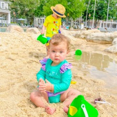 Gabriella, 13 months, playing in the sand dune